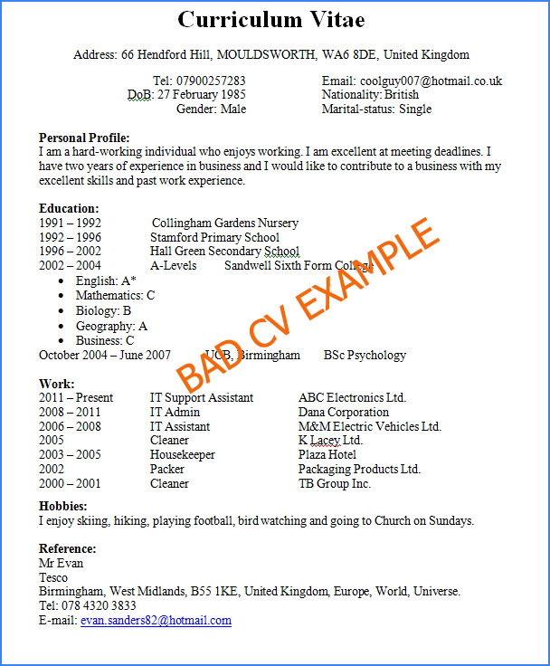 Sample Resume Format Doc Download